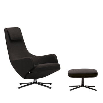 Vitra - Repos Sessel andOttoman, Cosy black forest/ poliert