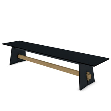 Conmoto - Tension bench, anthracite / black / teak