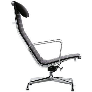 Vitra - EA 124 chrome recliner, swivel, armrests, Hopsak black,