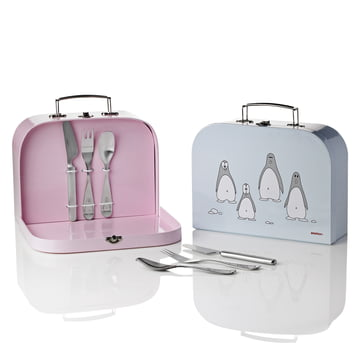 Stelton - Penguin Children's cutlery, blue + pink