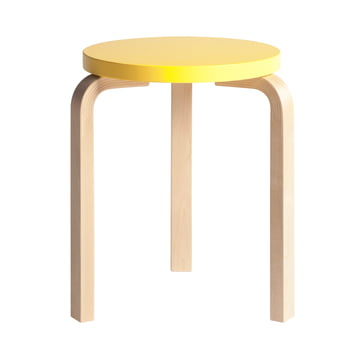 Artek - Stool 60, yellow lacquered/ birch natural
