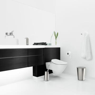 Stylish bathroom with Eva Solo Toilet brush, Rubbish bin and Soap dispenser