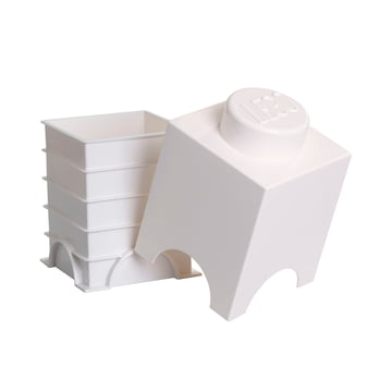 Lego - Storage Brick 1, white - open