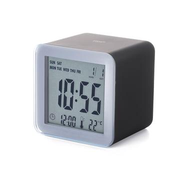 Lexon - Cube Sensor LCD alarm clock, aluminium, black