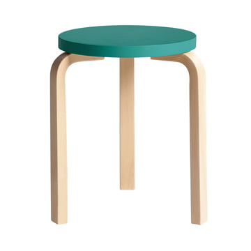 Artek - 60 Stool, turquoise lacquered/ natural birch wood