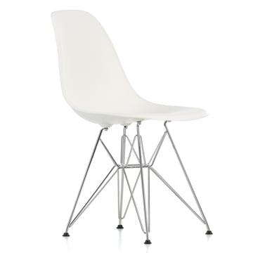 Vitra - Eames Plastic Side Chair DSR, chromed / white, felt glides black