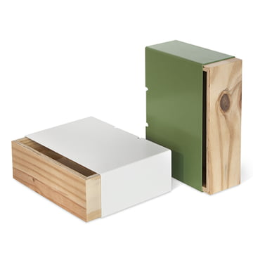 Lessing - Drawer box, green, white