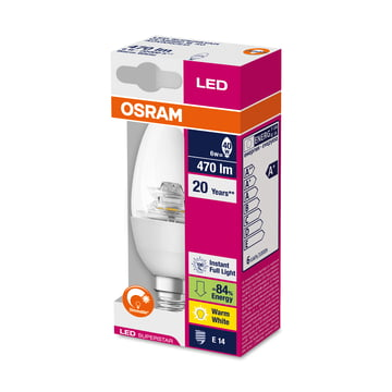 Osram - LED Supers Clas B 40 adv, E14, clear sparkling - Pack.