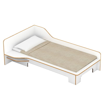 Müller Möbelwerkstätten - Plane single bed, white, left side