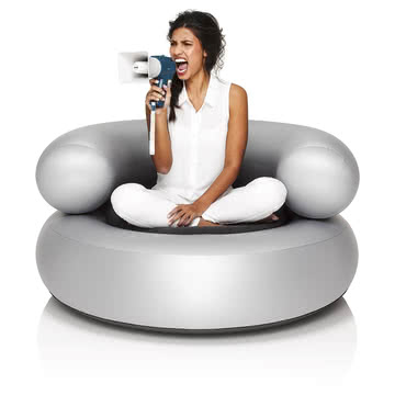 Fatboy - Inflatable Ch-air, silver - with person