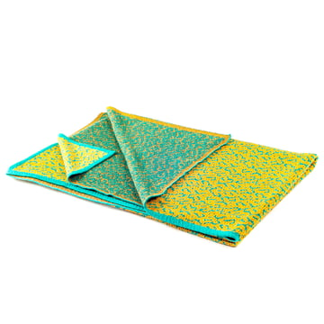 Zuzunaga - Labyrinth Golden Ocre woollen blanket, folded