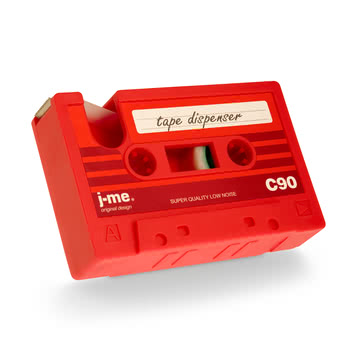 j-me - cassette tape dispenser, green, red - inclined from below