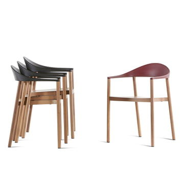 Plank - Monza Chair, black, wine-red
