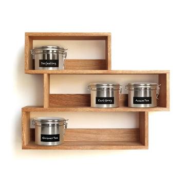 side by side - Tea shelf with tea tins