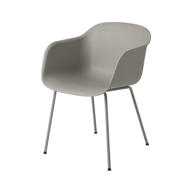 Muuto - Fiber Chair - Tube Base, grey / grey