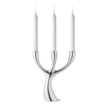 Georg Jensen - Cobra three-armed Candleholder, with candles