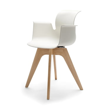 Flötotto - Pro 6 Armchair, four-star wooden frame oak nature, clear lacquered, white