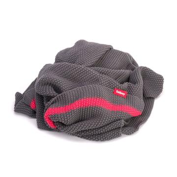 Fatboy - Klaid blanket, dark grey / neon pink stripe