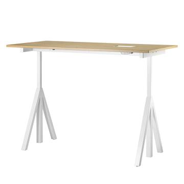 String - Works Desk, white / oak