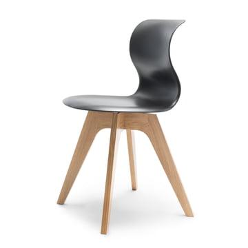 Flötotto - Pro 6 Chair, four-star wooden frame oak nature / graphite, felt glides