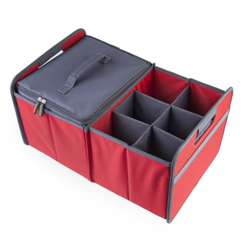 meori - Cooler, gray / Sixpack, gray / CLASSIC Foldable Box 30 Liter, Hibiscus Red solid
