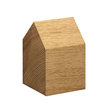 e15 - AC10 House Paperweight made of oak with small saddle roof