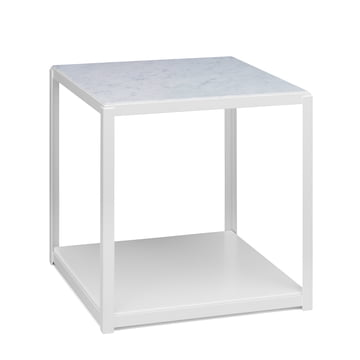 e15 - FK12 FortyForty stackable side table in signal white with white marble