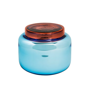 Low container vase by Pulpo in blue with red cover
