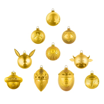 Golden Christmas tree balls (set of 10) by A di Alessi