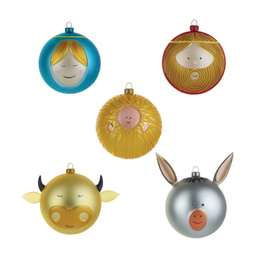 Baby Jesus Mary Joseph Ox and Donkey Christmas Baubles (set of 5) by A di Alessi