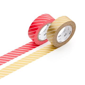 Masking tape - 2P deco series strip / red, gold (2er-Set)