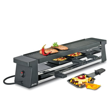 Raclette 4 Compact, black with aluminium grilling plate by Spring