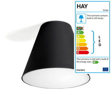 Hay - Sinker Light Ceiling Lamp in black