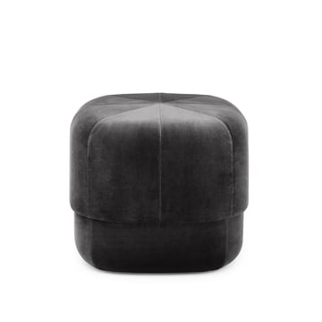 Circus Pouf in Small by Normann Copenhagen made of Grey Velour