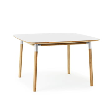 Form table 120 x 120 cm by Normann Copenhagen made of oak in white