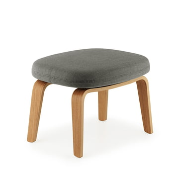 Era Footstool by Normann Copenhagen made from oak wood with breeze fusion fabric in dark grey