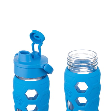 Glass Bottle 0.6 l with Flip Top Cap by Lifefactory in blue