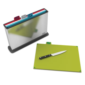 Index Steel chopping boards (set of 4) by Joseph Joseph in stainless steel