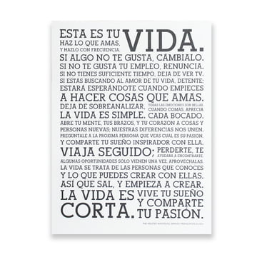 Holstee - Poster White Manifesto Spanish, large