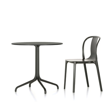 Belleville Bistro Table and Belleville Chair Wood by Vitra