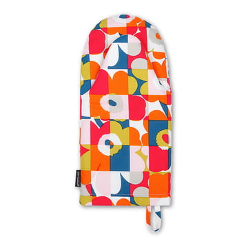 The Mini-Ruutu-Unikko Oven Mitten by Marimekko in blue / red / green