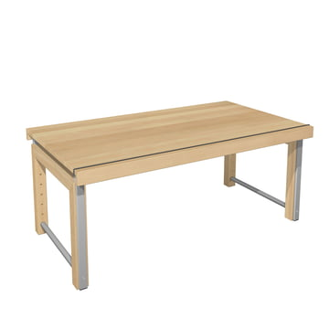 Ziggy desk, continuous top by de Breuyn in natural beech wood/grey metallic.