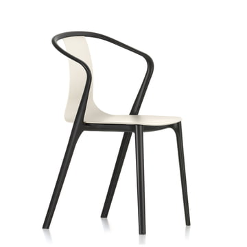 Belleville Armchair Plastic by Vitra in deep black/cream