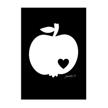 Poster Apple white on a black background from byGraziela