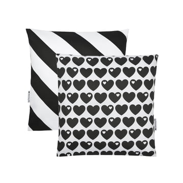 Reversible cushion cover Hearts 40 x 40cm from byGraziela in black