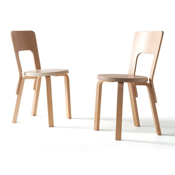 Artek - Chair 66 birch veneer with seat cover