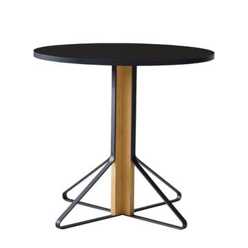 REB 003 Kaari Table Ø 80 cm by Artek in high gloss black made of natural oak