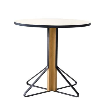 REB 003 Kaari Table Ø 80 cm by Artek in high gloss white made of natural oak