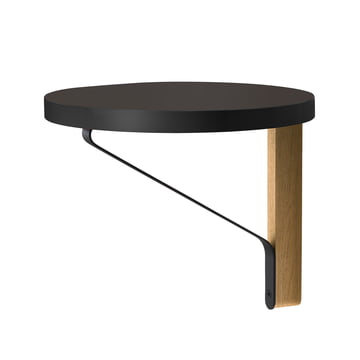 REB 009 Kaari Wall Shelf Ø 35cm by Artek in black from natural oak