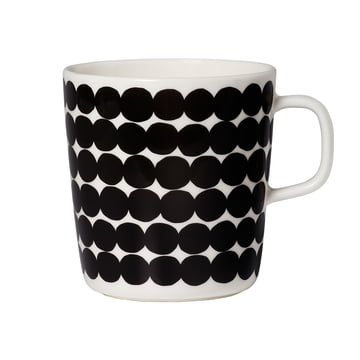 Marimekko - Oiva Räsymatto Cup with Handle, white / black, 400ml